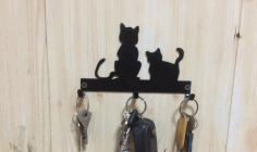 Laser Cut Cats Key Hanger Hooks Wall Mounted Storage Holder Free DXF Vectors File
