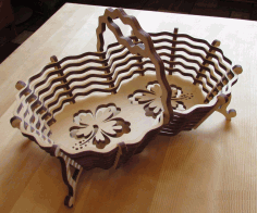Laser Cut CNC Candy Basket Vector Plan CDR File