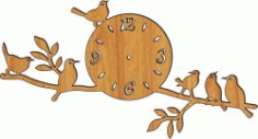 Laser Cut CNC Clock on A Tree Branch Plasma DXF Vectors File