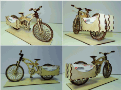 Laser Cut CNC Project Bicycle View CDR File