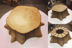 Laser Cut CNC Tree Base Shaped Table Stool Chair CDR File