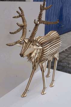 Laser Cut Deer 3D Wood Model Free DXF Vectors File