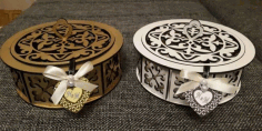 Laser Cut Design Round Box CDR File