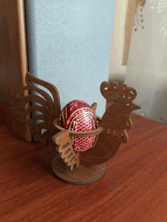 Laser Cut Easter Chicken Egg Holder Hen Rooster Egg Stand Free CDR Vectors File