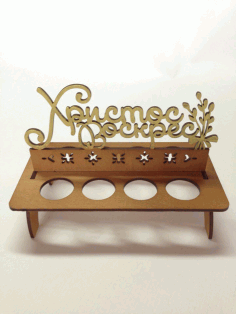 Laser Cut Easter Egg Tray Rack Wooden Stand Holder Free CDR Vectors File