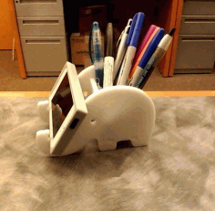 Laser Cut Elephant Phone Stand and Pen Holder DXF File