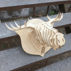 Laser Cut Elk Head Trophy DXF File