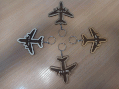 Laser Cut Engraved Airplane Keychain Free DXF Vectors File