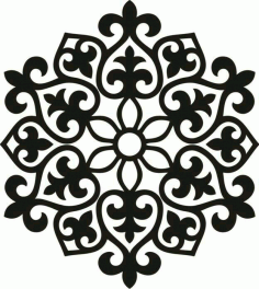 Laser Cut Floral Pattern Stencil Free Vector DXF File