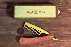 Laser Cut Folding Beard Comb Template with Box Free CDR Vectors File