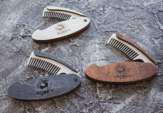 Laser Cut Folding Hair and Beard Comb Free CDR Vectors File