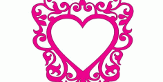 Laser Cut Frame Heart DXF File