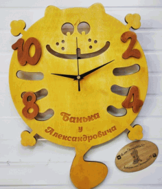 Laser Cut Funny Cat Clock Free Vector CDR File