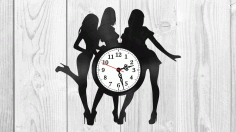 Laser Cut Girls Silhouette Vinyl Record Clock CDR Vectors File