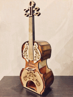 Laser Cut Guitar Shaped Tea House Free CDR Vectors File