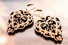 Laser Cut Heart Earrings Or Pendant Free Vector CDR File
