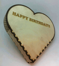 Laser Cut Heart Shape Box Birthday Gift Box Free CDR Vectors File
