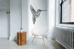 Laser Cut Hummingbird Geometric Polygonal Modern Wall Art CDR File