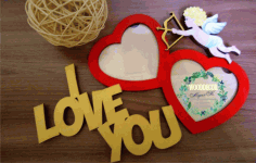 Laser Cut I Love You Photo Frames Free Vector CDR File
