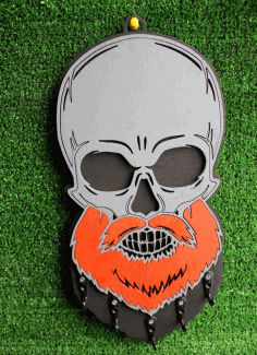 Laser Cut Key Hanger Beard Skull Free Vector CDR File