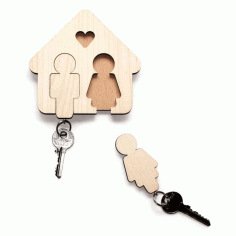 Laser Cut Key Hanger for Couple Free DXF Vectors File