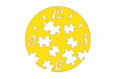 Laser Cut Kids Room Wall Clock with Puzzle Template Free Vector CDR File