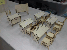 Laser Cut Kids Toys Miniature Classroom Furniture CDR File
