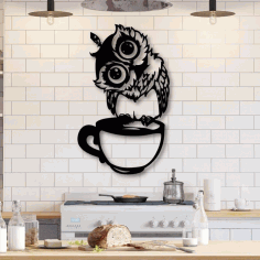 Kitchen Wall Art Owl Sitting on Cup Laser Cut Free CDR File