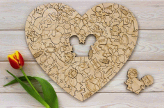Laser Cut Love Heart Shape Puzzle Free Vector CDR File
