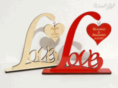 Laser Cut Love Heart Stand Template CDR File