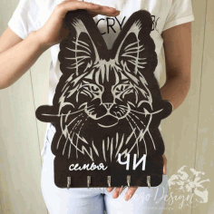 Laser Cut Maine Coon Cat Key Rack Cloth Hanger Wall Hook CDR File