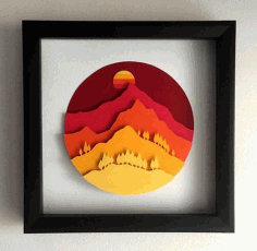Laser Cut Mountains Layered Wall Art Decor CDR File