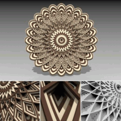 Laser Cut Multilayer 3D Mandala Design DXF File