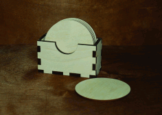 Laser Cut Napkin Holder Napkin Box With Coasters Free CDR Vectors File