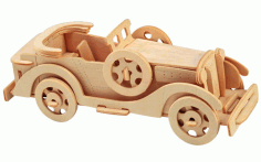 Laser Cut Packard Twelve Car Model 3D Wooden Puzzle Kids Toys Gifts Free CDR Vectors File
