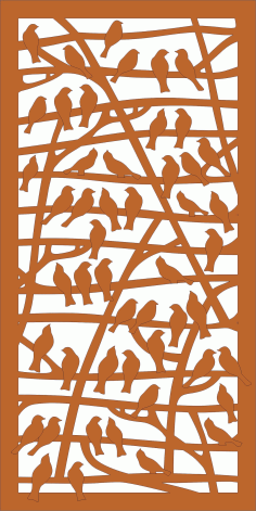Laser Cut Partition With Birds Pattern Free CDR Vectors File