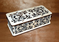 Laser Cut Patterned Wooden Box with Lid CDR File