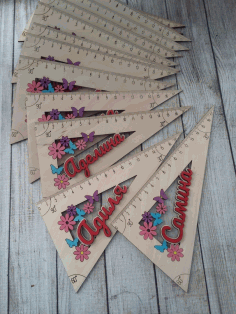 Laser Cut Personalised Wooden Rulers Free CDR Vectors File