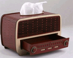 Laser Cut Radio Shape Napkin Holder With Drawer Free CDR Vectors File
