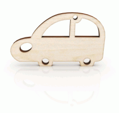 Laser Cut Retro Car Keychain Wooden Key Ring CDR File