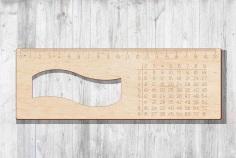 Laser Cut Ruler With Multiplication Table 20 cm Ruler Free CDR Vectors File