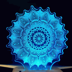 Laser Cut Star Mandala 3D Illusion Lamp 3D Night Light DXF File