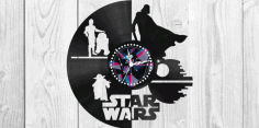 Laser Cut Star Wars Clock Plans Darth Vader Yoda Vector CDR Vectors File