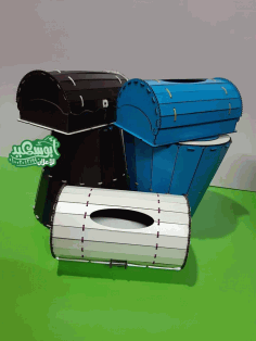 Laser Cut Tissue Box And Waste Paper Basket Dustbin Set Free DXF Vectors File