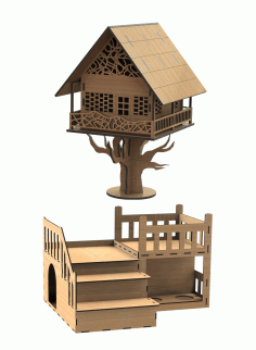 Laser Cut Tree House Night Lamp CDR Vectors File