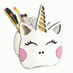 Laser Cut Unicorn Pen Holder Free CDR File