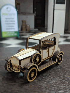 Laser Cut Vintage Wooden Classic Car Vehicle CDR File