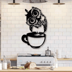 Laser Cut Wall Art Owl Sitting On Cup Free CDR Vectors File