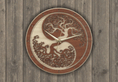Laser Cut Wall Clock Tree Free Vector CDR File