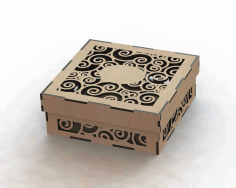 Laser Cut Wood Box Template DXF File